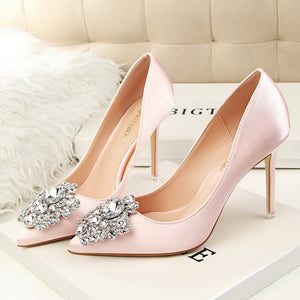 Women's Pumps Pumps Closed Toe Stiletto Heel Silk Like Satin Shoes-New Shoes 1703-Chicloth