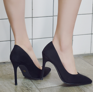Chicloth Black Pointed Toe Chunky Heel Pumps-Chicloth