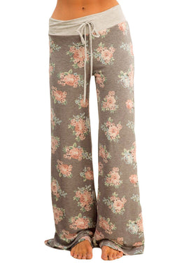Chicloth Taupe Floral Terry Wide Leg Pants