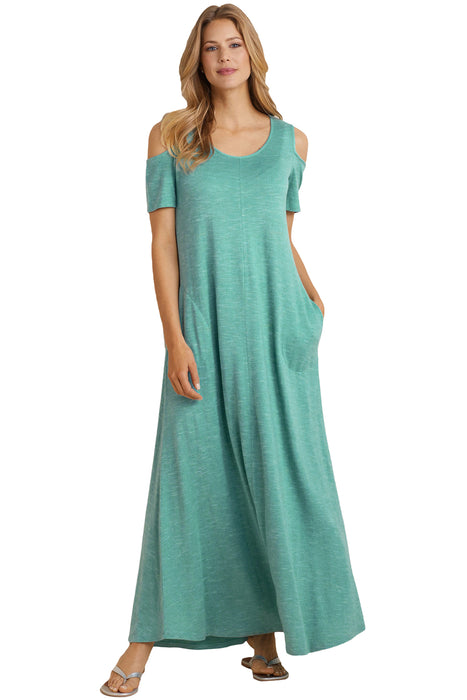 Z| Chicloth Teal Blue Cold Shoulder Pocket Style Maxi Dress-Chicloth