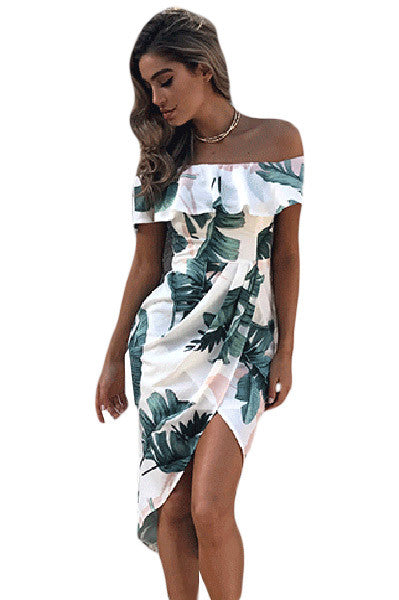 Chicloth Tropical Palm Leaf Ruffle Off Shoulder Wrap Boho Dress