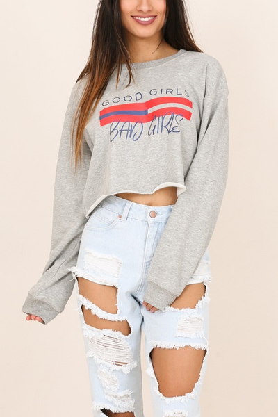A| Chicloth Female Gray Cropped Top 2018 Spring Letter Printed Long Sleeve