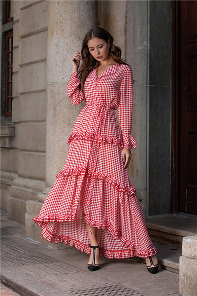 B| Chicloth Pink V-neck Women Long Sleeve Maxi Dresses-Maxi Dresses-Chicloth