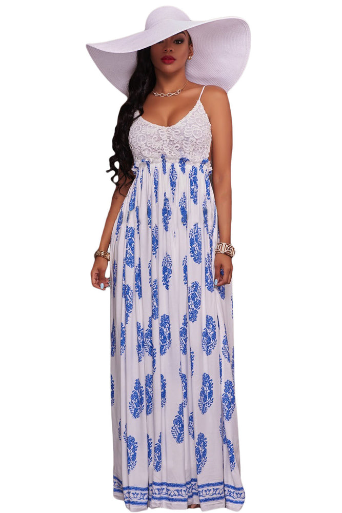 Chicloth White Blue Print Open Back Maxi Dress-Boho Dresses-Chicloth