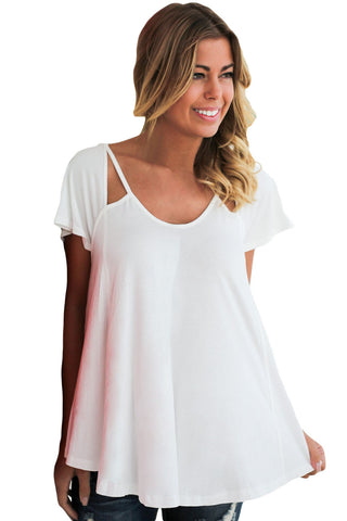 Chicloth White Cutout Cold Shoulder Flowy Top