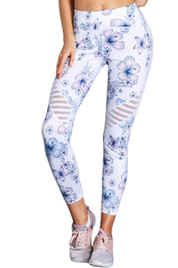 Z| Chicloth White Cutout Insert Floral Yoga Leggings