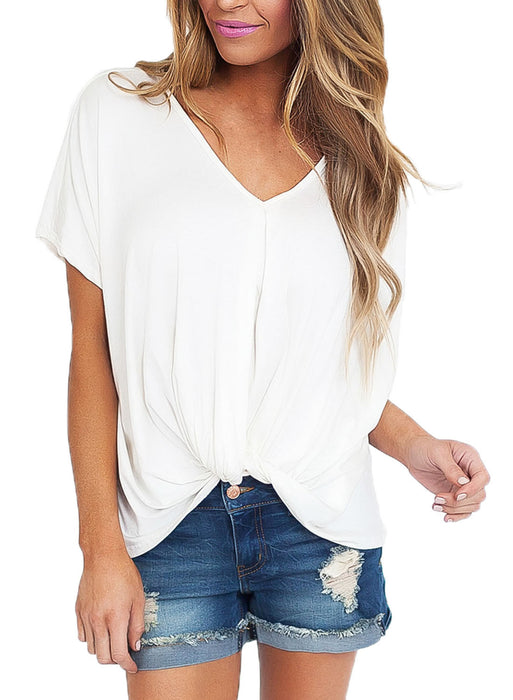 Chicloth White Draped Front Knot Top-Blouse-Chicloth