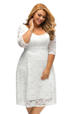 A| Chicloth White Floral Lace Sleeved Fit and Flare Curvy Dress-Plus size Dresses-Chicloth