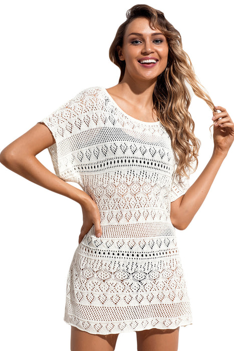 Z| Chicloth White Hollow Lace Crochet Short Cover Up Dress-Chicloth