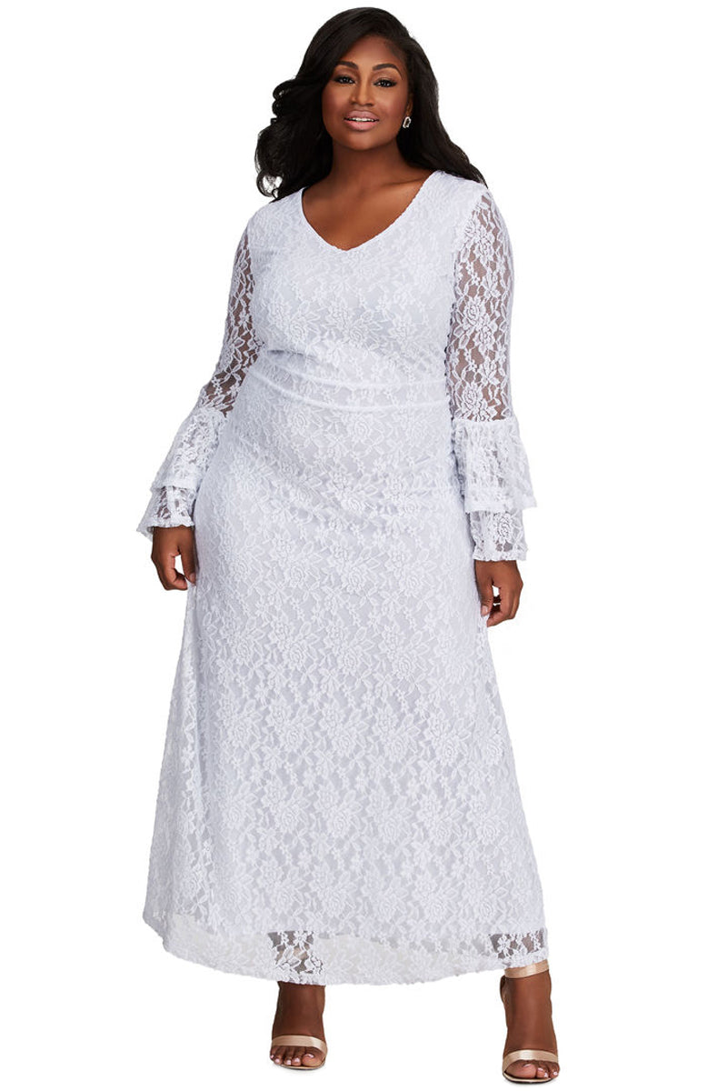 Z| Chicloth White Lace Bell Sleeve Plus Size Maxi Dress