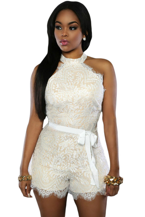 Chicloth White Lace Nude Illusion Stylish Romper-Jumpsuits & Rompers-Chicloth