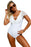 Chicloth White Lace Ruffle Cap Sleeve One Piece Swimsuit-One piece Swimwear-Chicloth
