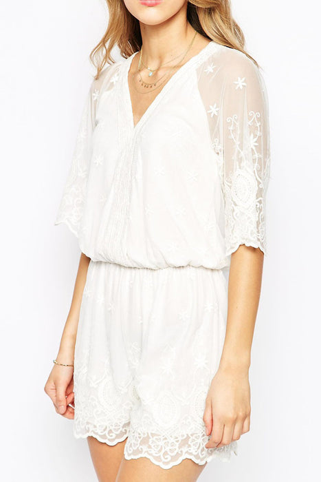 Chicloth White Lacy Mesh Overlay Elegant Playsuit-Jumpsuits & Rompers-Chicloth