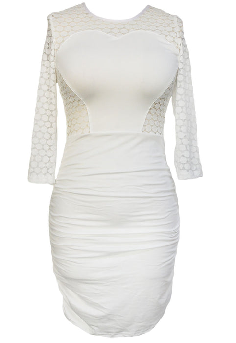 Chicloth White O Ring Hollow out Back Ruched Dress-Chicloth