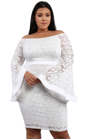 Z| Chicloth White Plus Size Long Bell Sleeve Lace Dress