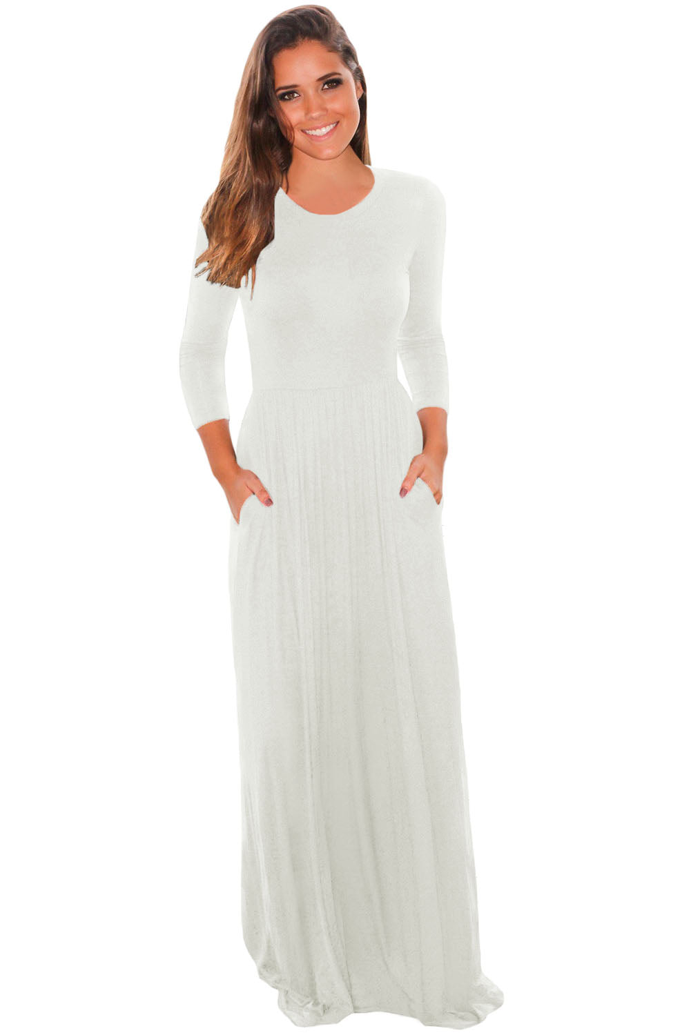 Chicloth White Pocket Design 3 4 Sleeves Maxi Dress