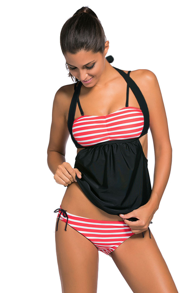 Chicloth White Red Stripes Black Splice Tankini Swimsuit-Tankinis-Chicloth