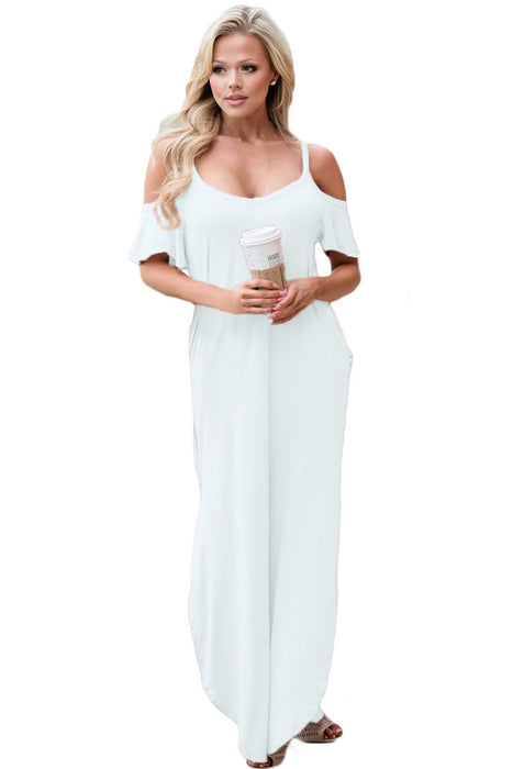Chicloth White Sassy Open Shoulder Maxi Dress-Maxi Dresses-Chicloth