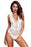 A| Chicloth White V Neck Hollow-Out Lace Bodysuit-Bodysuits-Chicloth