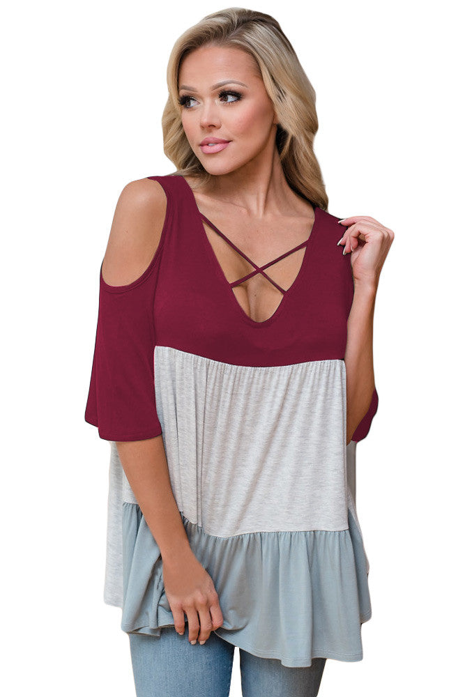 Chicloth Block Criss Cross V Neck Cold Shoulder Top-Blouse-Chicloth
