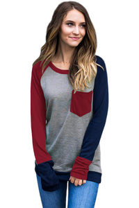 Chicloth Burgundy Navy Splice Gray Long Sleeve Top