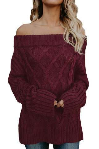 A| Chicloth Wine Off The Shoulder Winter Sweater