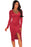 Chicloth Red Faux Suede Long Sleeves Slit Dress-Chicloth