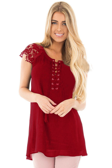 Chicloth Red Lace Sleeves Lace up Tunic Top-Blouse-Chicloth