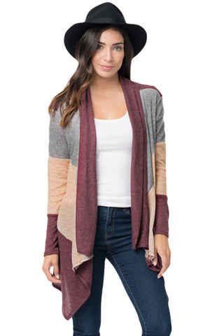 Chicloth Wine Shawl Neck Colorblock Long Sleeve Cardigan