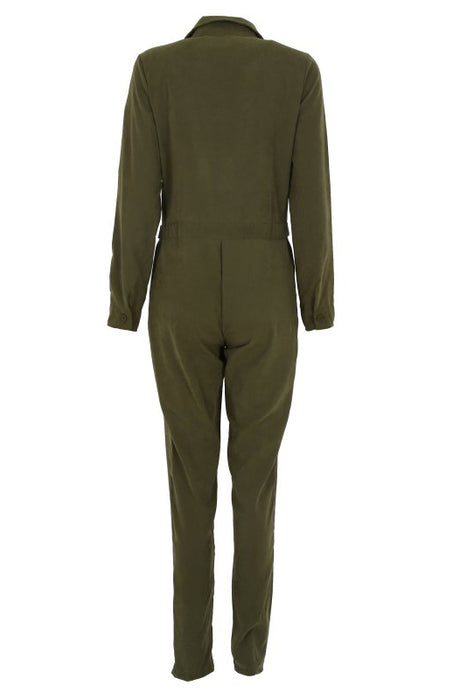 A| Chicloth Women'S Cool Deep V-Neck Long Sleeve Jumpsuits-Jumpsuits-Chicloth