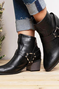 A| Chicloth Women Fashion Casual Zipper Low Heel Ankle Boots-Boots-Chicloth