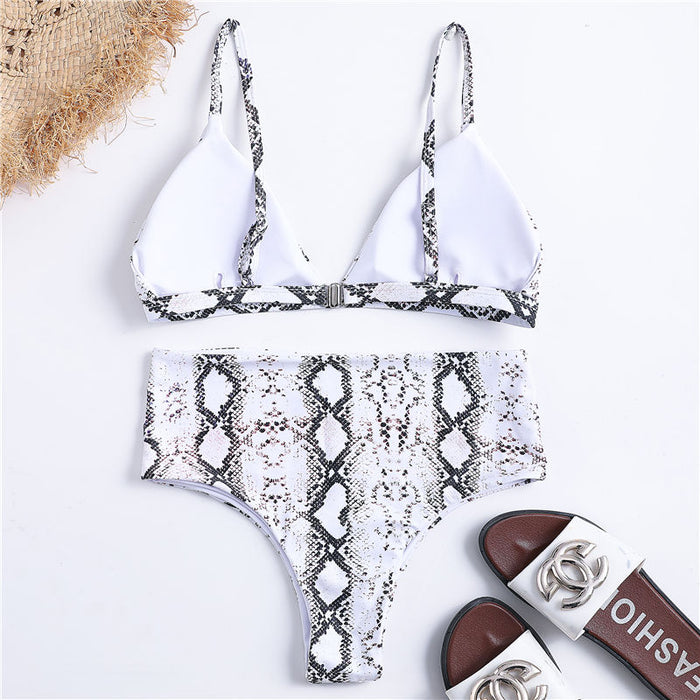 B| Chicloth Snake Pattern High Waist Ladies Sexy Bikinis