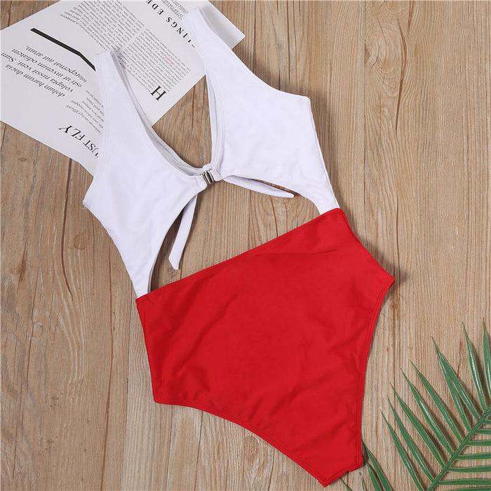 B| Chicloth White and Red Knotted On The Chest Bikinis