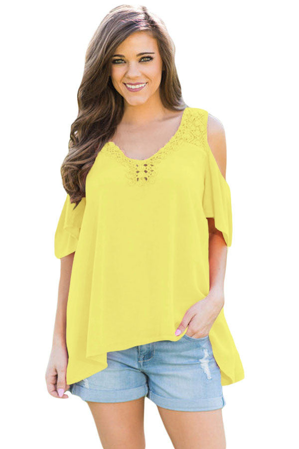 Chicloth Yellow Crochet Neck and Back Cold Shoulder Top-Blouse-Chicloth