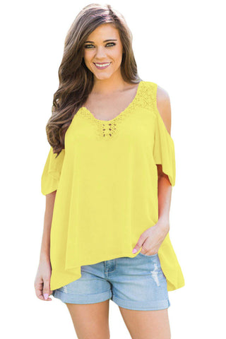 Chicloth Yellow Crochet Neck and Back Cold Shoulder Top