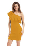 Chicloth Yellow One Shoulder Party Cocktail Mini Dress