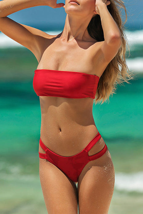 B| Chicloth Red Tube Top High Waist Sexy Bikinis