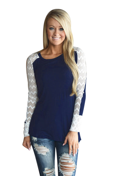 Chicloth Zigzag Hollow Out Navy Long Sleeve Shirt
