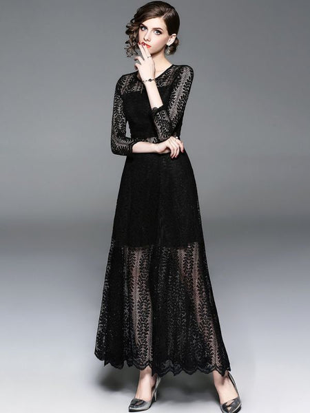 A-line Daytime Sexy Solid  Slit Lace Maxi Dress