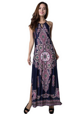 B| Chicloth Boho Floral Print Hollow out Dropped Armholes Split Hem Maxi Dress