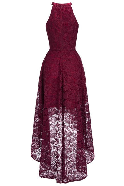 Chicloth Halter Sleeveless Sheath Asymmetrical Burgundy Lace Dresses-Lace Dresses-Chicloth