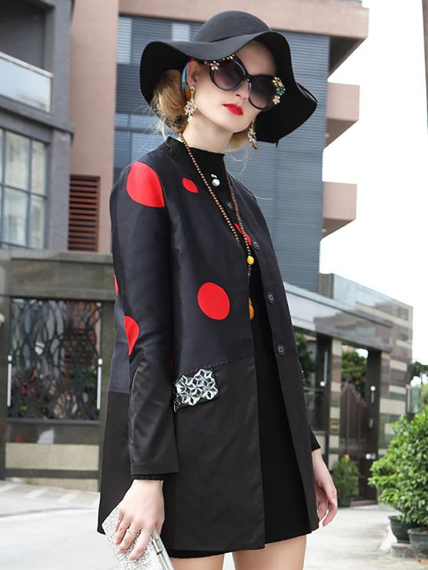 Black Casual Shift Polka Dots Buttoned Coats & Jackets-Coats & Jackets-Chicloth