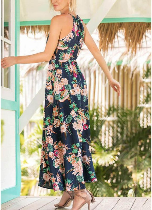 A| Chicloth Boho Floral Print Spaghetti Strap Dress Casual Elastic Waist Maxi Dress-polyester,print,anklelength,spaghettistraps,vneck,misses,sleeveless,maxidresses-Chicloth