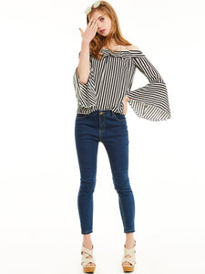 Chicloth Blue Slim Stripe Slash Neck Flare Sleeves Blouse
