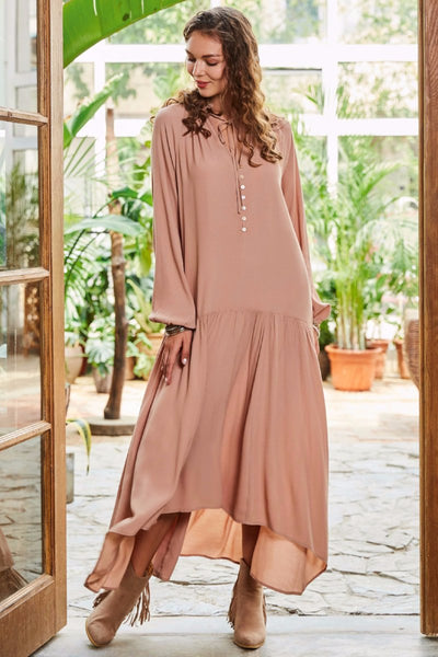 A| Chicloth Beige String Super Long Holiday Dress - Chicloth