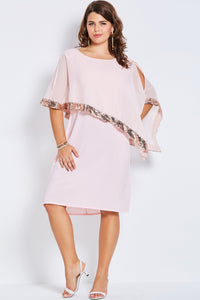 Chicloth Pink Sequins Edge Round Neck Plus Size Dress - Chicloth