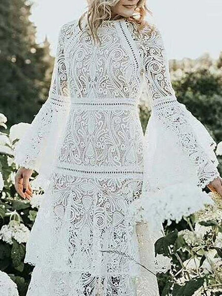 White A-line Guipure lace See-through Look Tiered Ruffled Midi Dresses