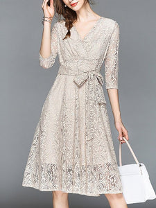 A-line Daily Lace 3/4 Sleeve Elegant Bow Midi Dress