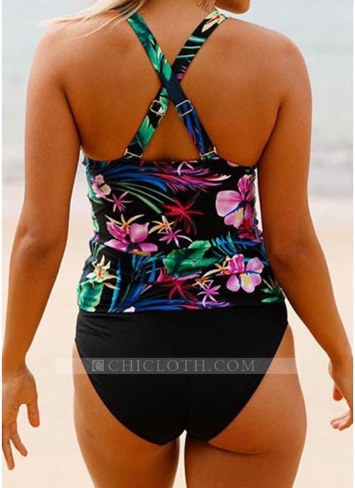 C| Chicloth Floral Print Two Piece Swimsuit Push Up Bathing Suit-nylon,polyester,onepieceswimsuit-Chicloth