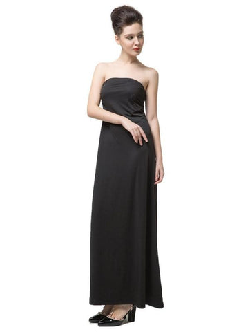 B| Chicloth Fashion Women Strapless Neckline Ruched Maxi Dress